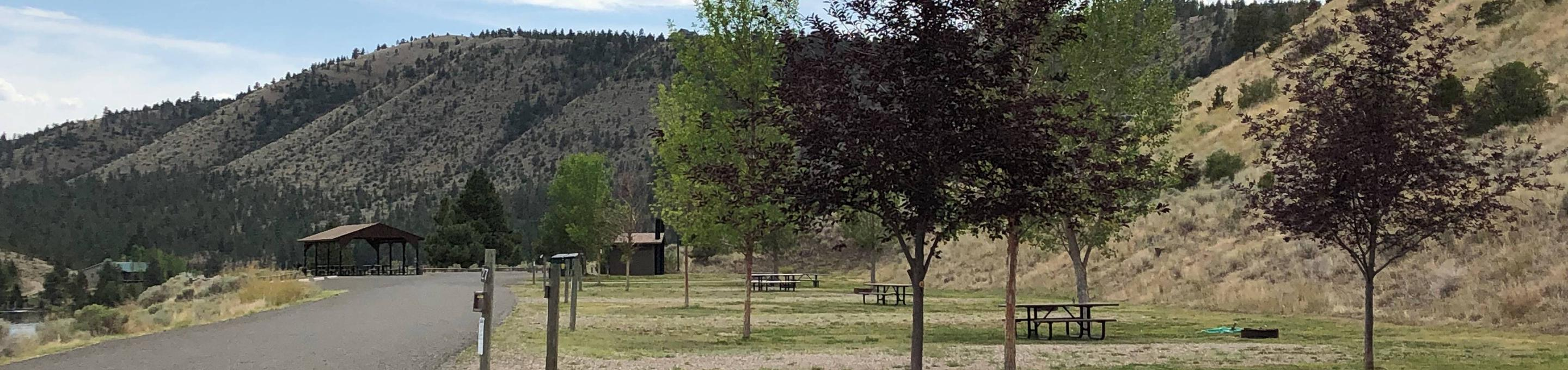 Group camping area at BLM White Sandy Campground.Group reservation campsite at BLM White Sandy Campground.