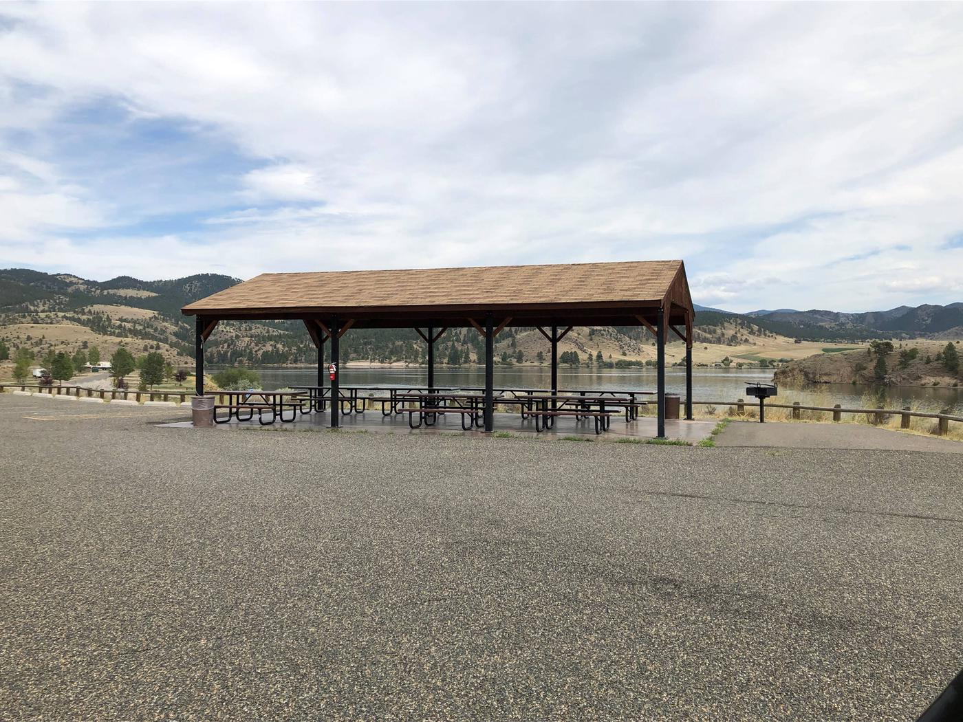 Pavilion/ramada at group camping area. BLM White Sandy Campground.