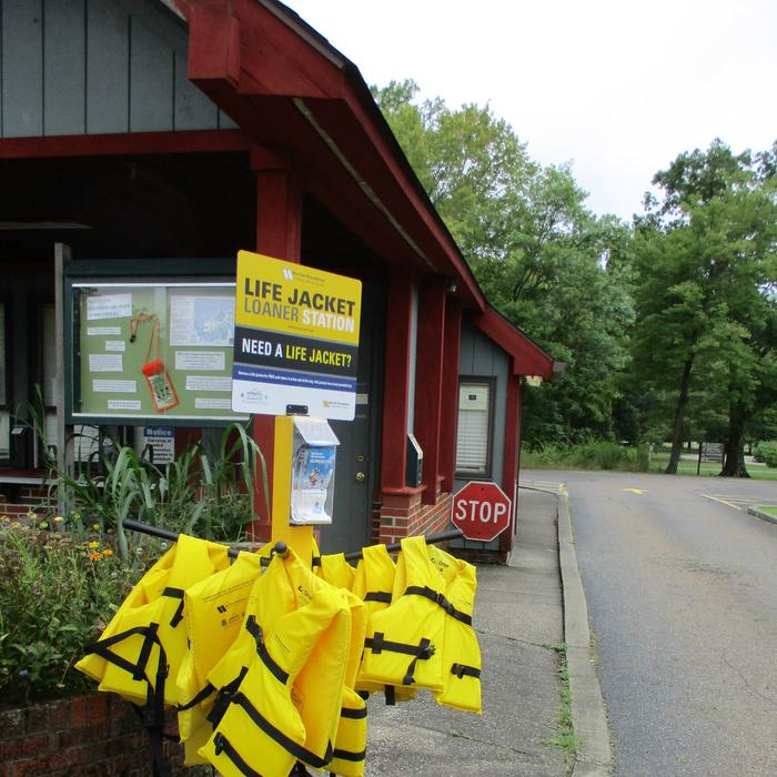 Life Jacket loaner station at campground entrance booth.