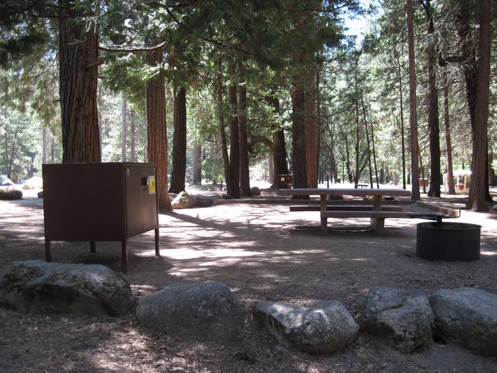 Food locker, picnic table, and fire ringSite 70
