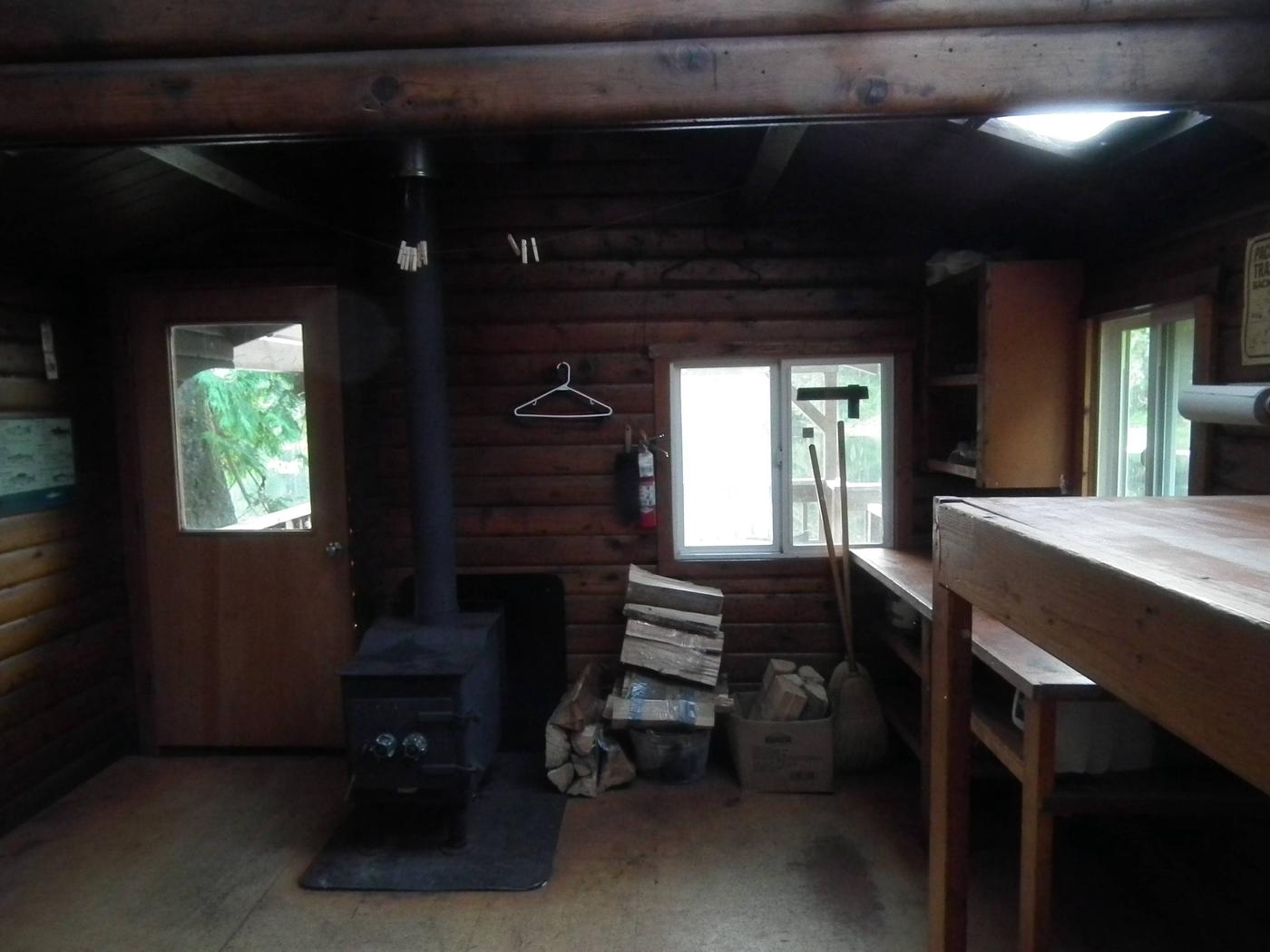 Front Half of CabinEntrance, Kitchen Area, and Stove
