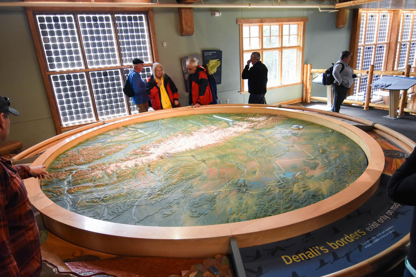 Denali Relief MapOne of the features of the Denali Visitor Center is a relief map that illustrates the Alaska Range and its highest peak, Denali
