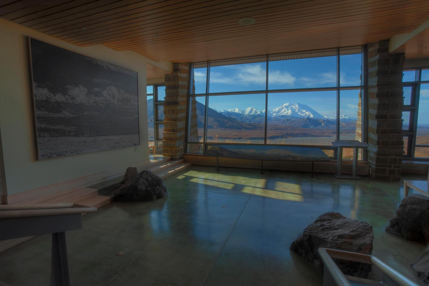 EielsonEielson Visitor Center features exhibits, maps, and fabulous views of the Alaska Range, when skies are clear.