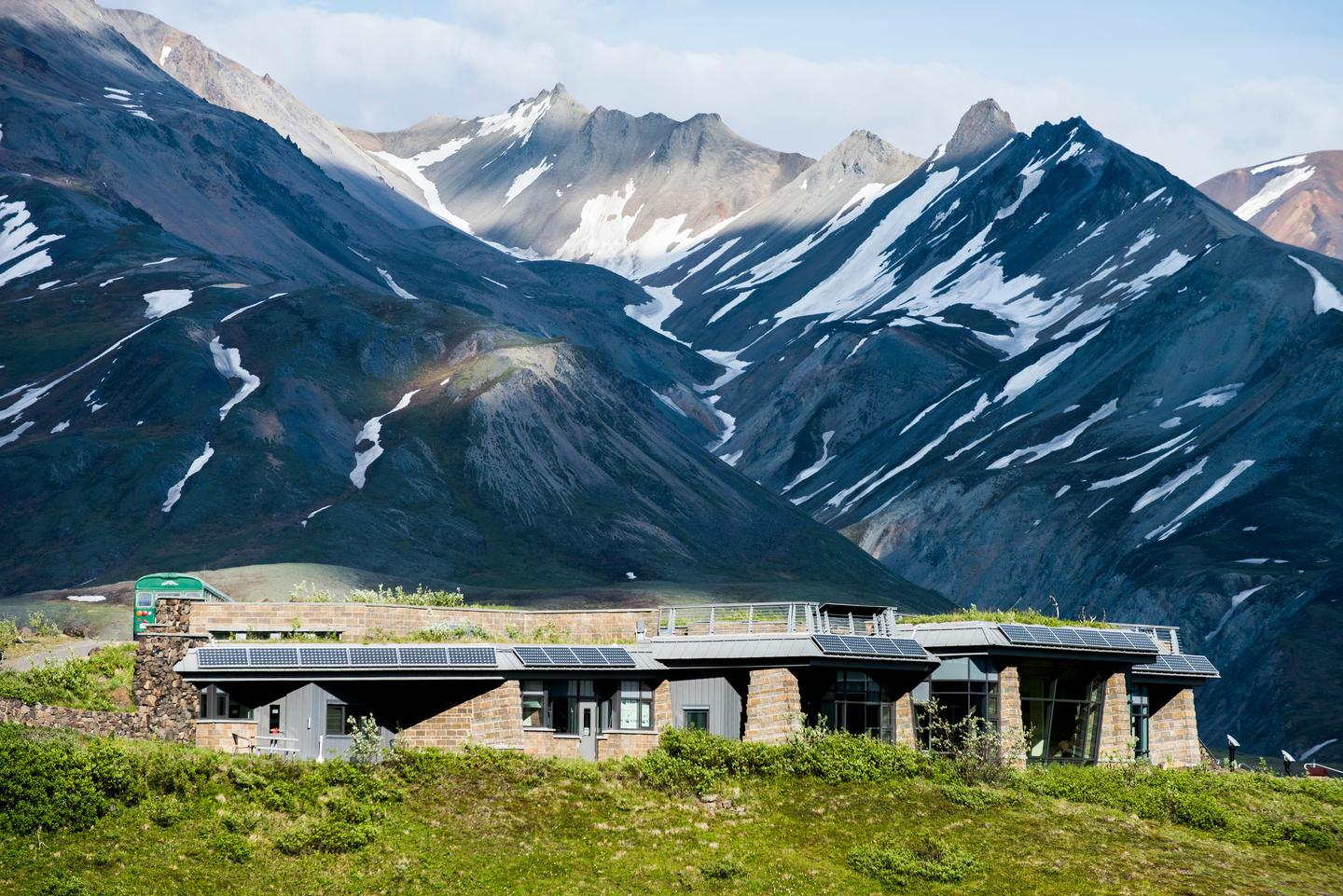 Eielson Visitor CenterEielson Visitor Center has a low profile, to avoid being an eyesore on an otherwise undeveloped landscape