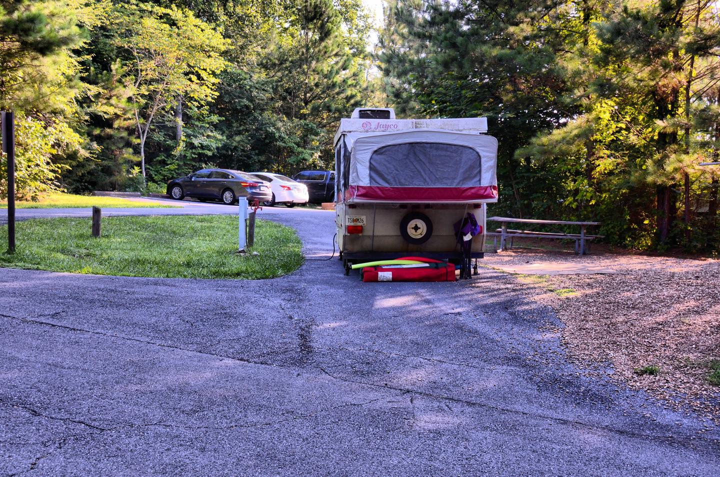 utilities-side clearance, awning-side clearance.Payne Campground, campsite 001