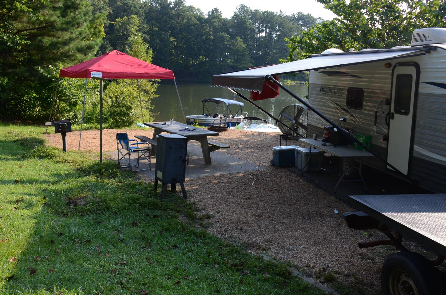 Awning-side clearance, campsite view.Payne Campground, campsite 005.