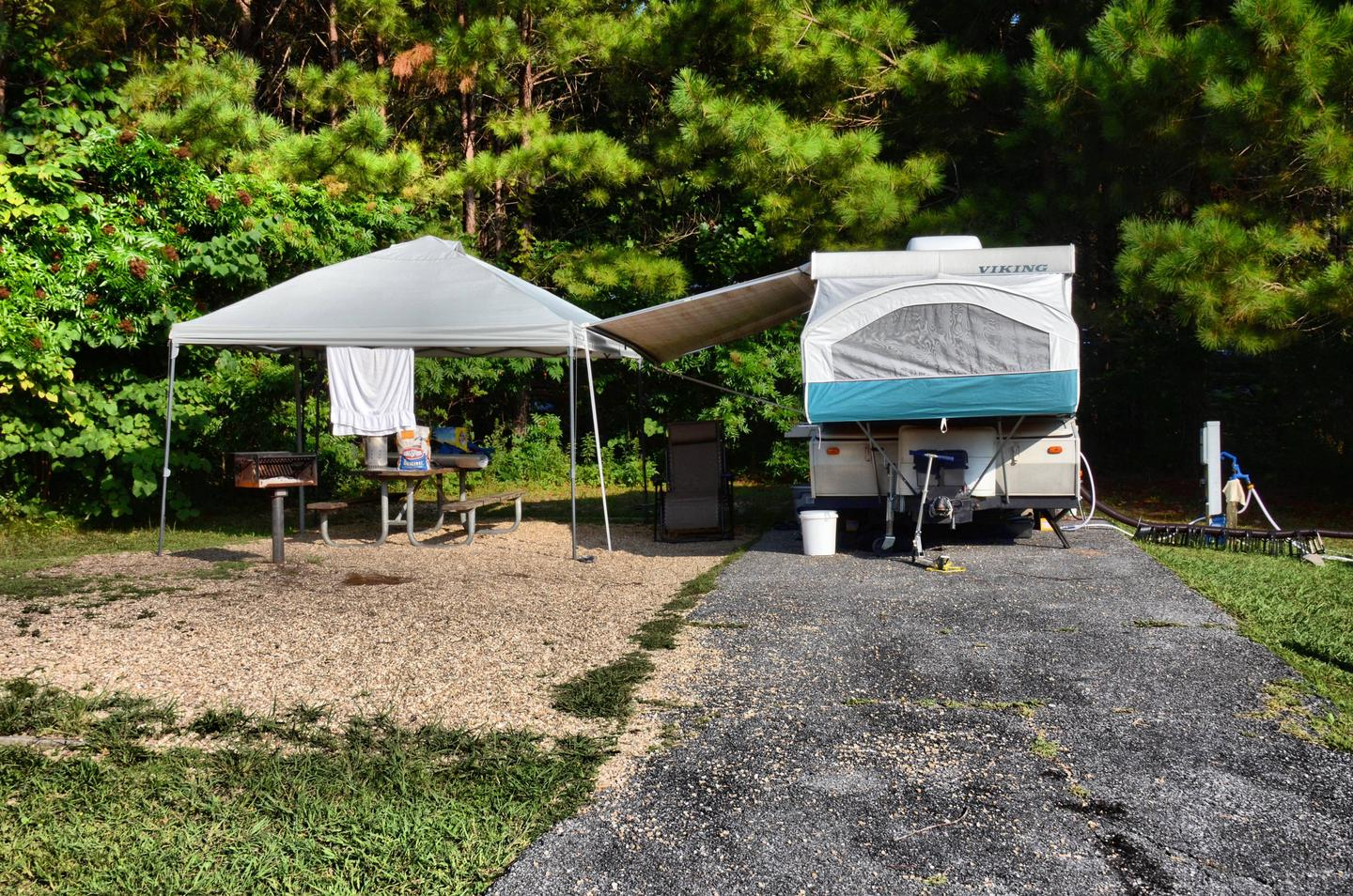 Awning-side clearance.Payne Campground, campsite 006.