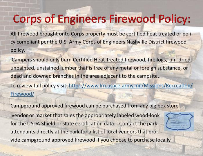 FIREWOOD POLICY- NOT ALL ROADSIDE VENDOR WOOD IS ACCEPTED AT THIS CAMPGROUND.
