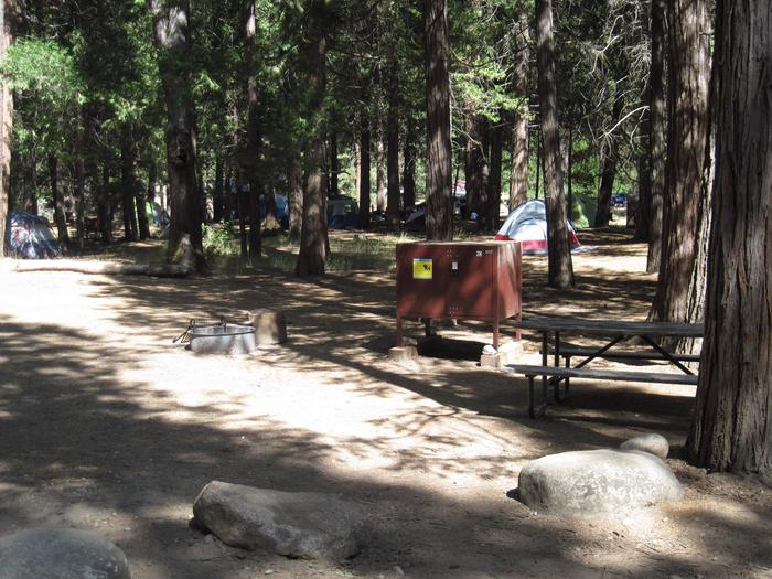 Food locker, picnic table, and fire ringSite 78