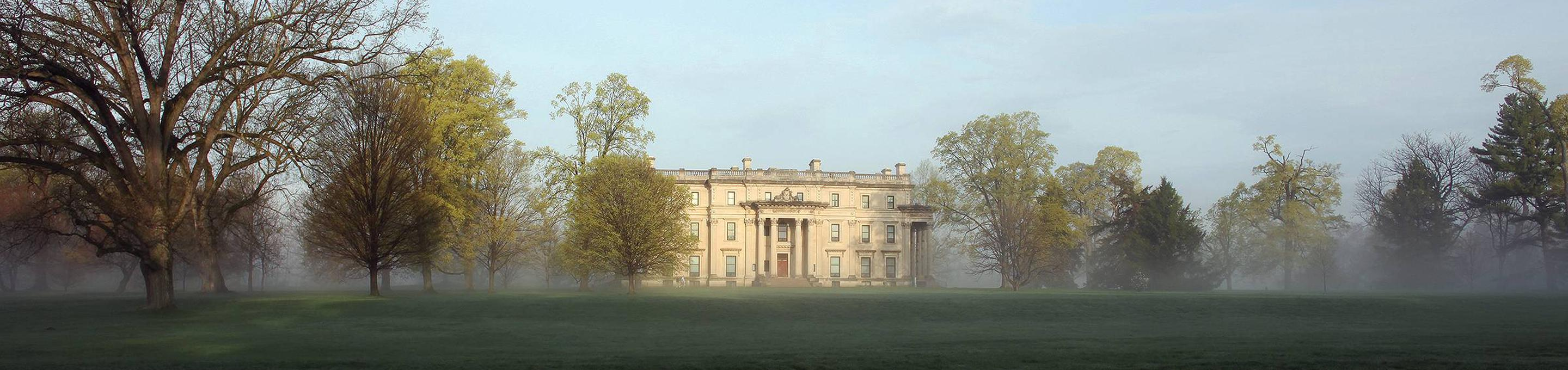 Vanderbilt Mansion on a foggy morning.