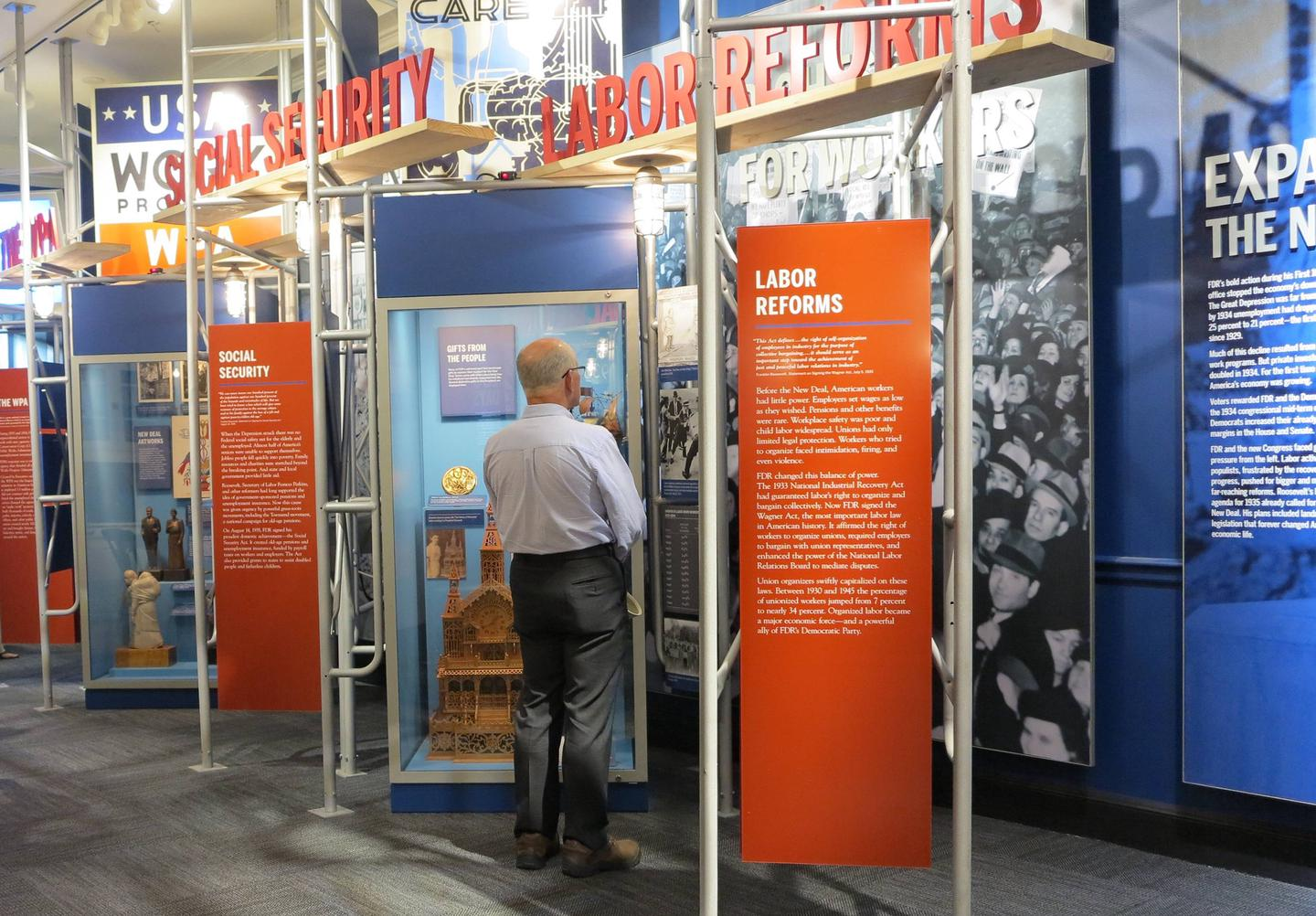 A New DealThe American economy was reeling in 1932 as unemployment sat at 25%. Enter Franklin Roosevelt. The exhibit begins with FDR's promise for a New Deal, improved government agencies, Social Security, and a renewed U.S. economy.