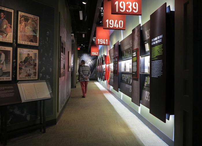 War!This exhibit takes visitors on the United States' winding journey of World War II—from a reluctant, isolationist nation to one galvanized to defeat fascism. FDR lay at the heart of America's journey to victory.