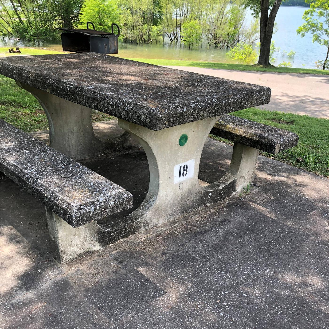 OBEY RIVER PARK SITE # 18 CONCRETE TABLE WITH NUMBEROBEY RIVER PARK SITE # 18