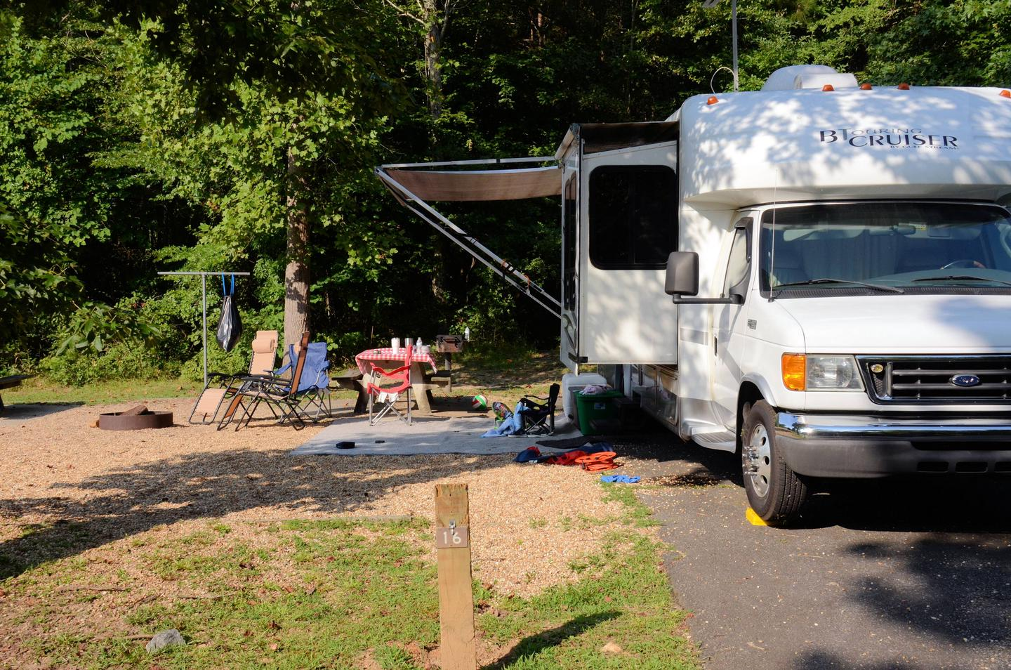 Awning-side clearance, campsite view for 16.Payne Campground, campsite 15/16.  Awning-side clearance for 16.