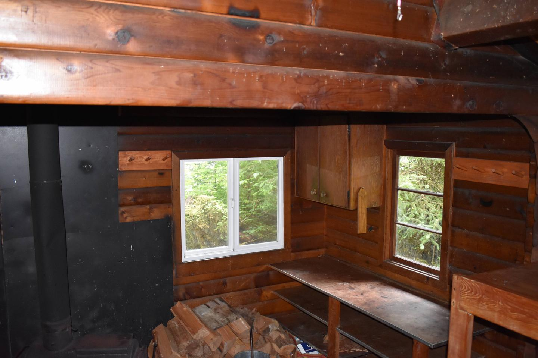 Kitchen Area with wood stoveKitchen Area with stove