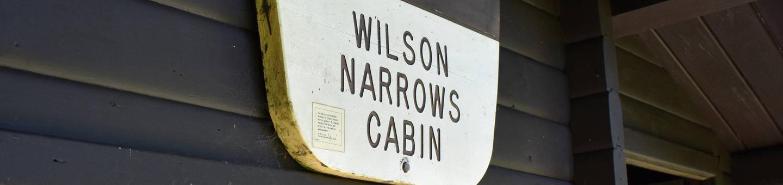 Wilson Narrows cabin sign