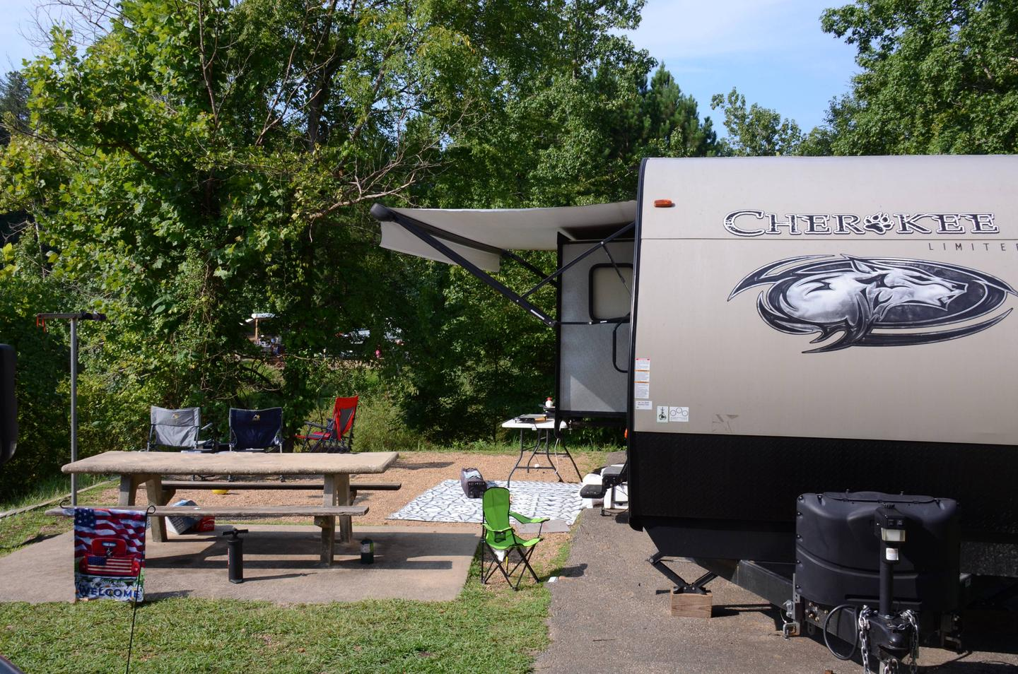 Awning-side clearance, campsite view.Payne Campground, campsite 26.