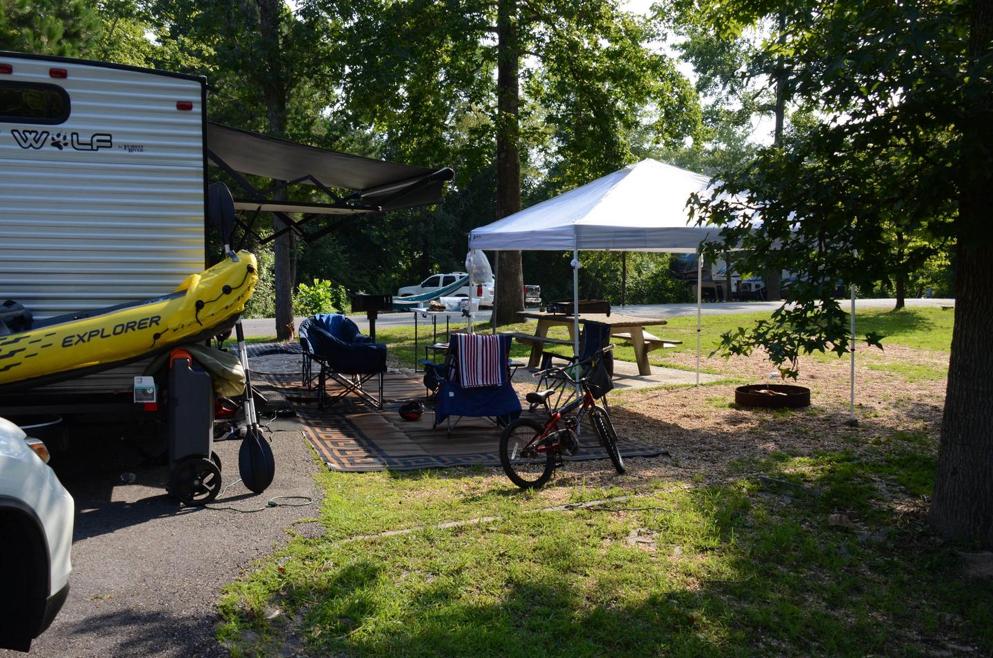 Awning-side clearance, campsite view.Payne Campground, campsite 28.