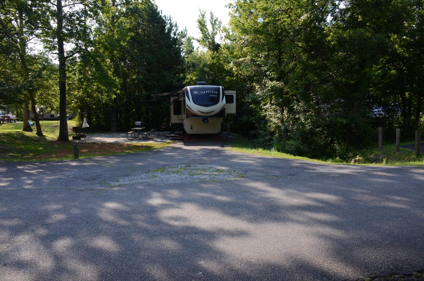 Driveway slope, awning-side clearance, utilities-side clearance.Payne Campground, campsite 29.