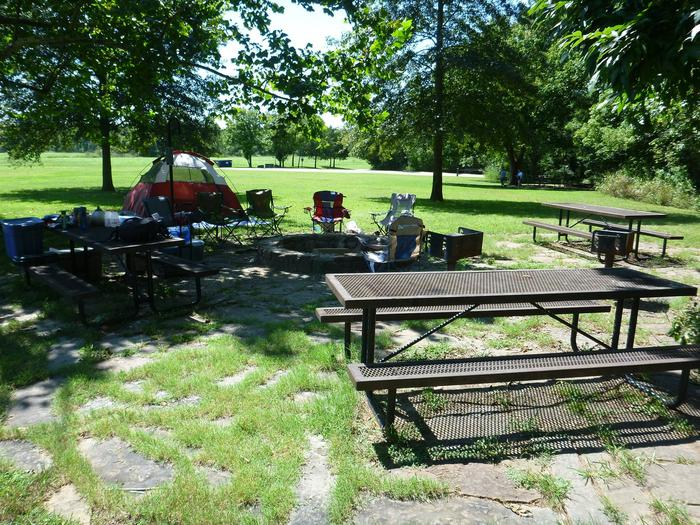 Group Site 2-7Group Site #2, Three picnic tables; two lantern holders; two charcoal cooking stands; one large fire pit.
