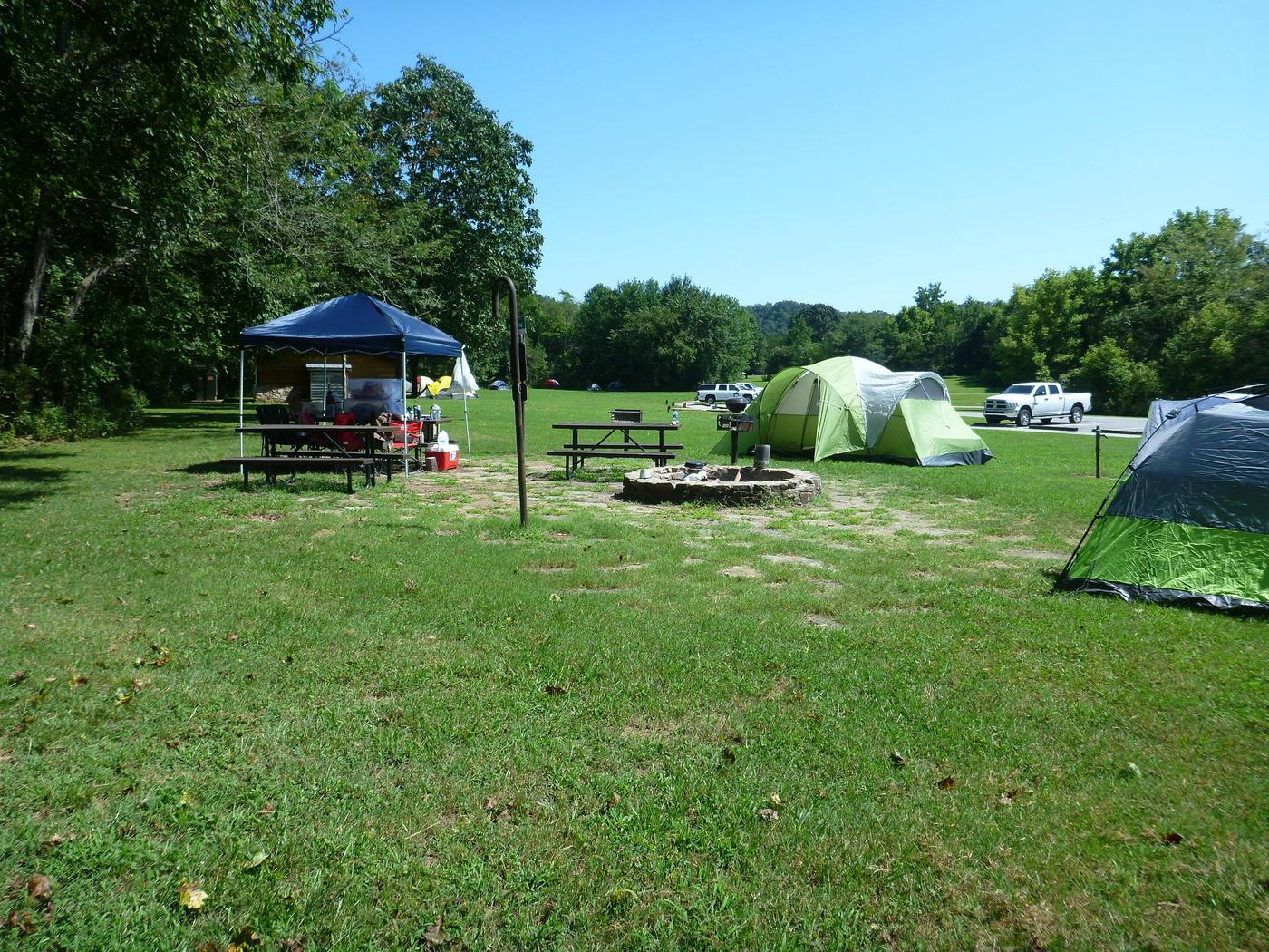 Tyler Bend Group Site 3-4Three picnic tables; two lantern holders; two charcoal cooking stands; one large fire pit.