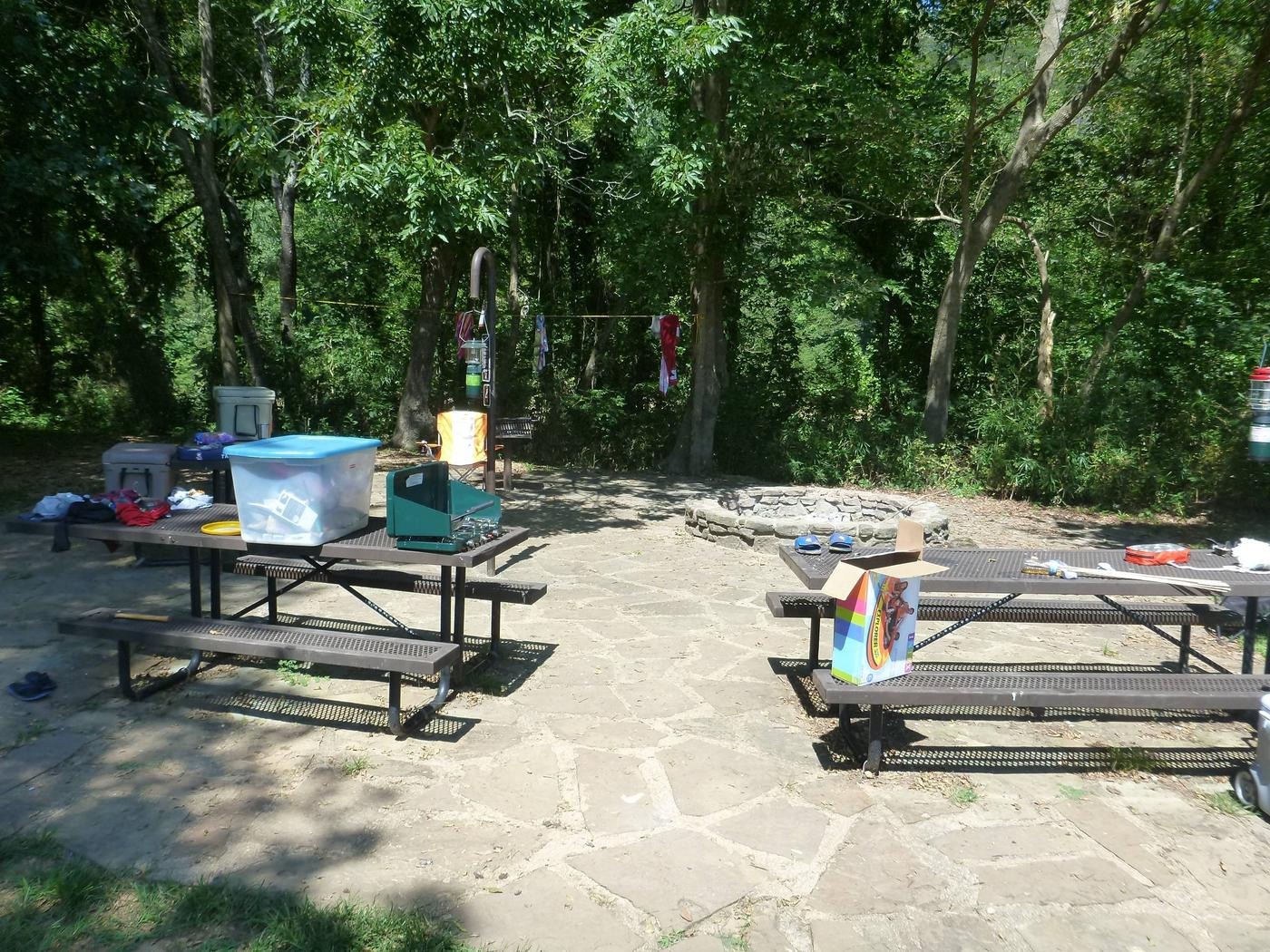Tyler Bend Group Site 4-2Three picnic tables; two lantern holders; two charcoal cooking stands; one large fire pit.