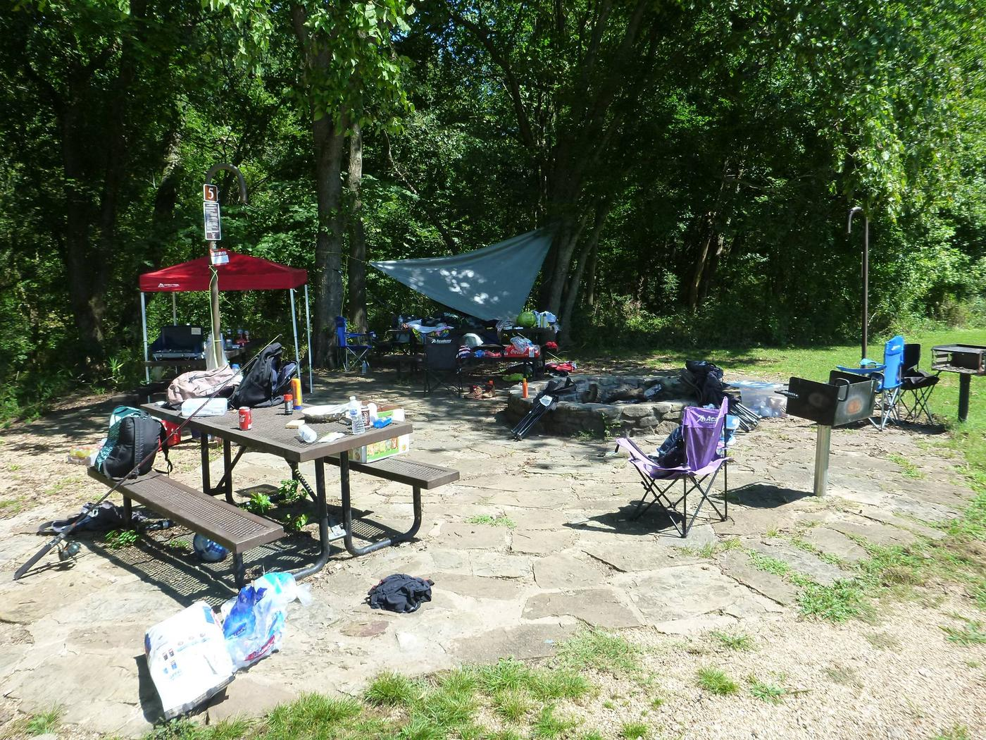 Tyler Bend Group Site 5-4Group Site #5, Three picnic tables; two lantern holders; two charcoal cooking stands; one large fire pit.