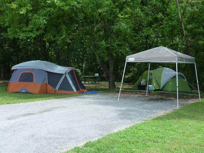 Tyler Bend Main Loop Site #4Site #4, 40' back-in, no tent pad.  Parking area is wide enough to park RV & car side by side.