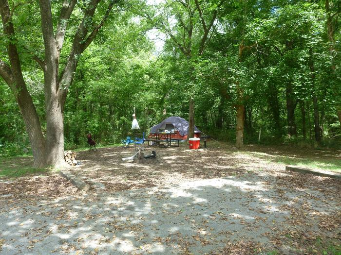 Tyler Bend Main Loop Ste #5-3Site #5, 54' back-in, no tent pad. Parking area is wide enough for RV and car to park side by side.