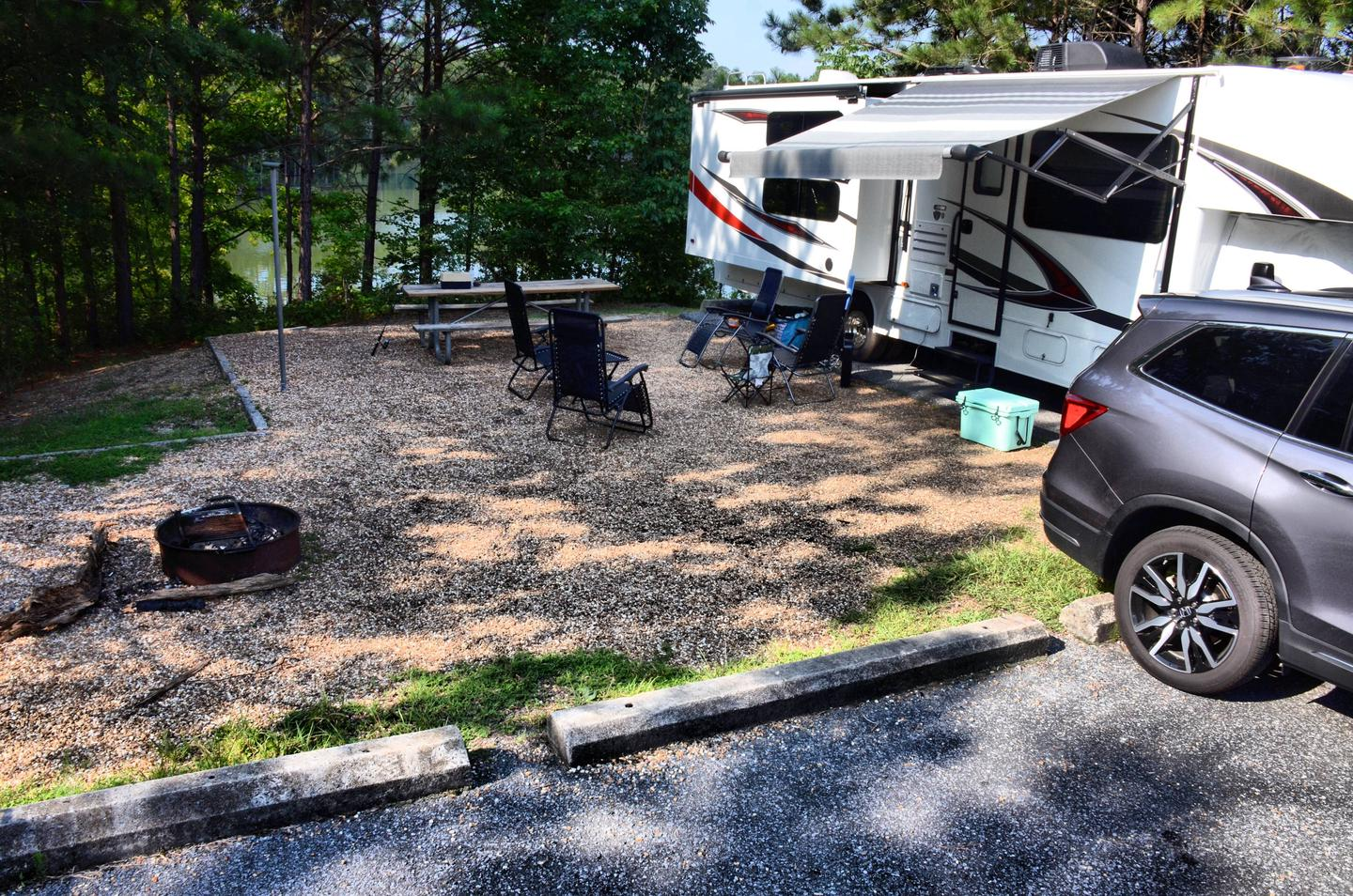 Awning-side clearance, campsite view.Payne Campground, campsite 34.