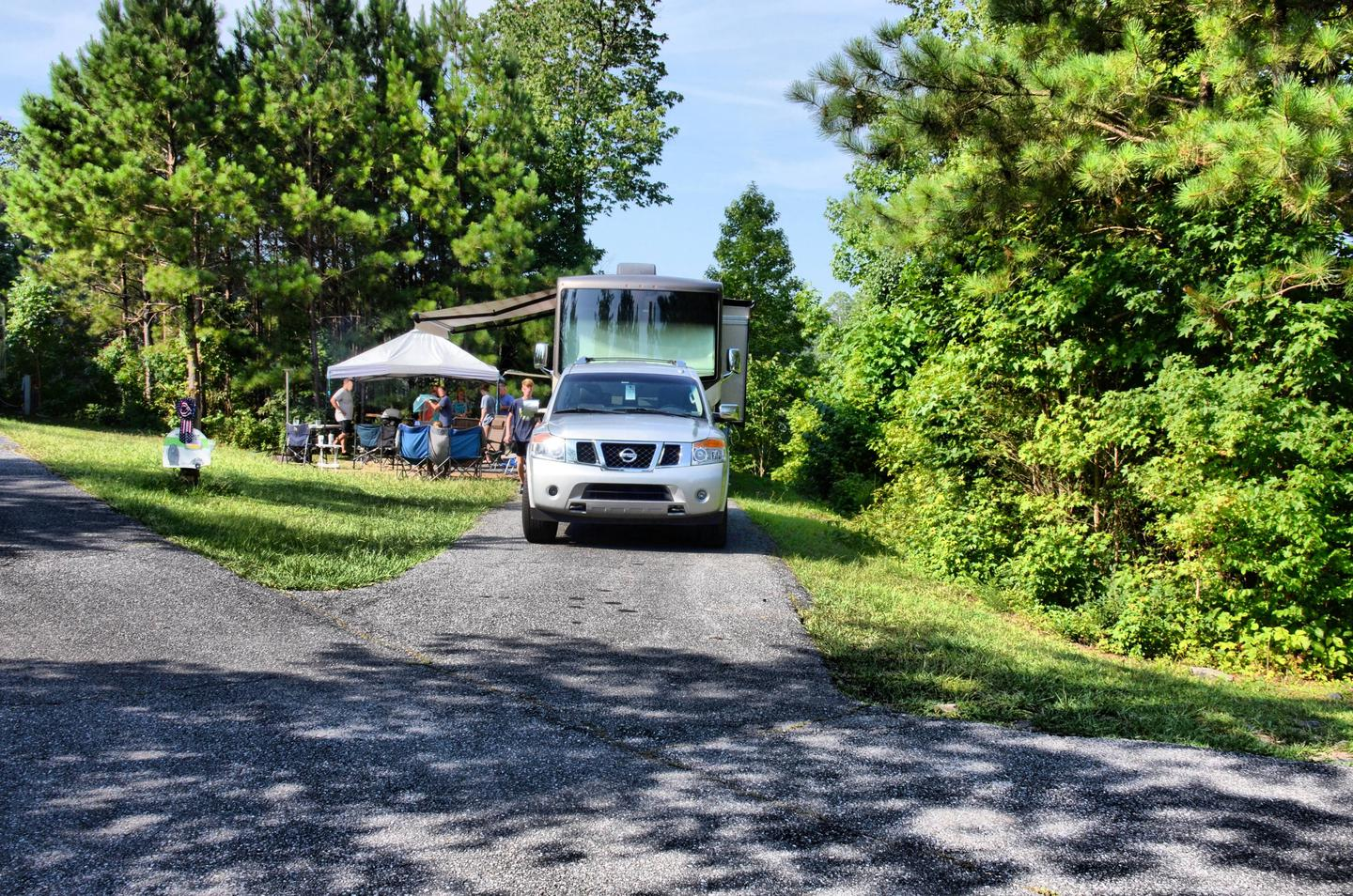 Driveway slope, awning-side clearance.Payne Campground, campsite 35.