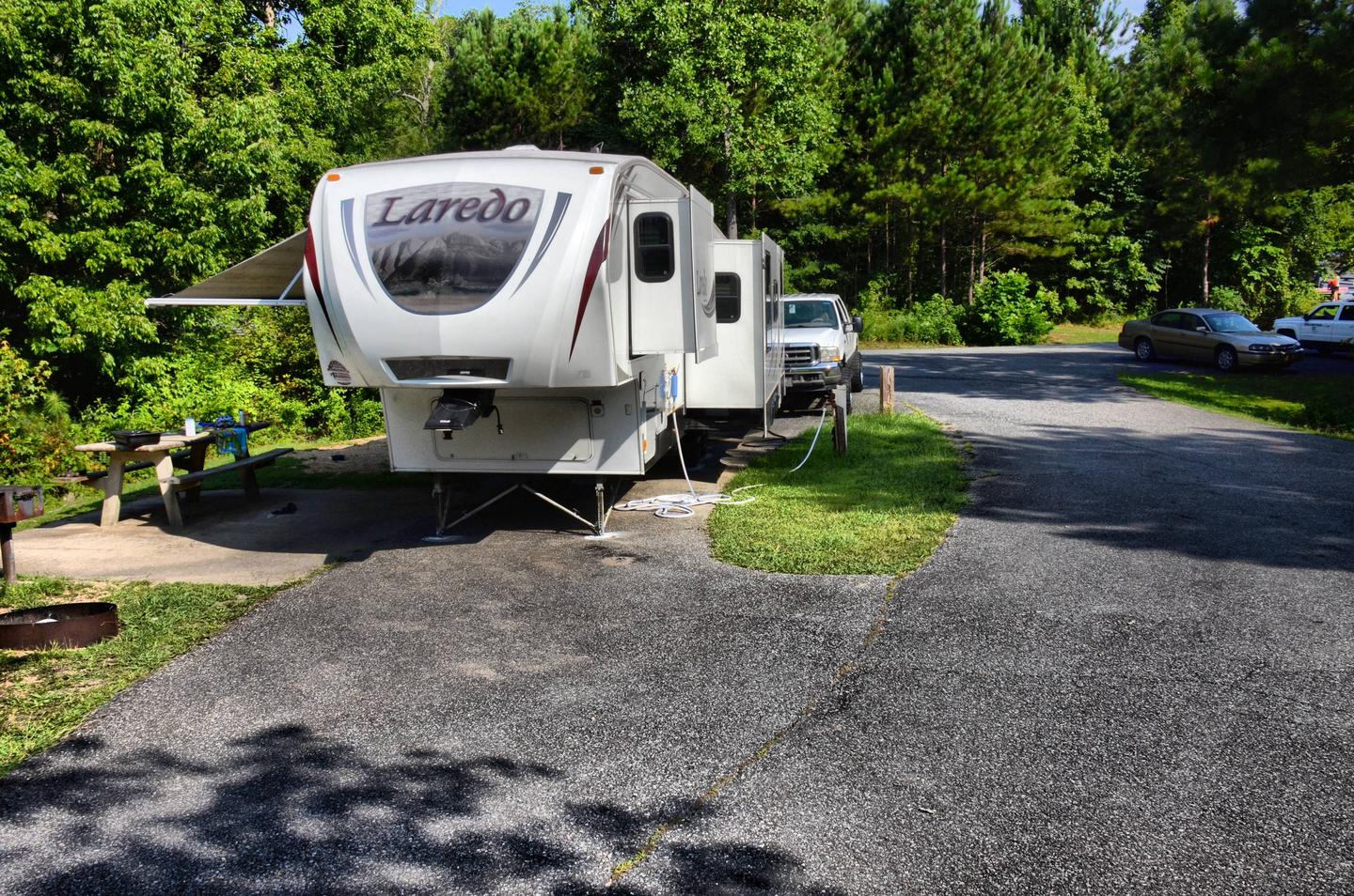 Pull-thru exit, driveway slope, utilities-side clearance.Payne Campground, campsite 36.