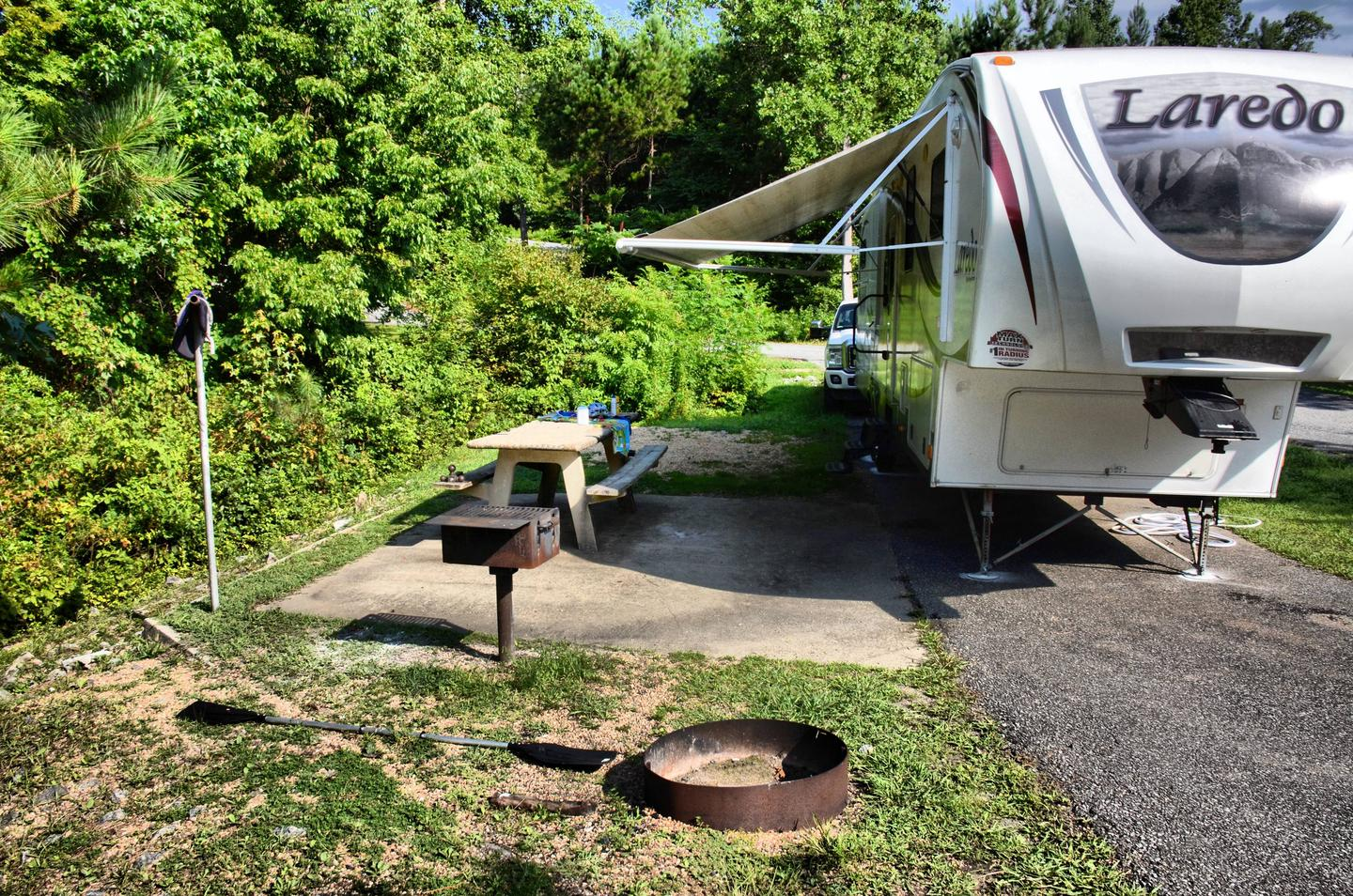 Awning-side clearance, campsite view.Payne Campground, campsite 36.