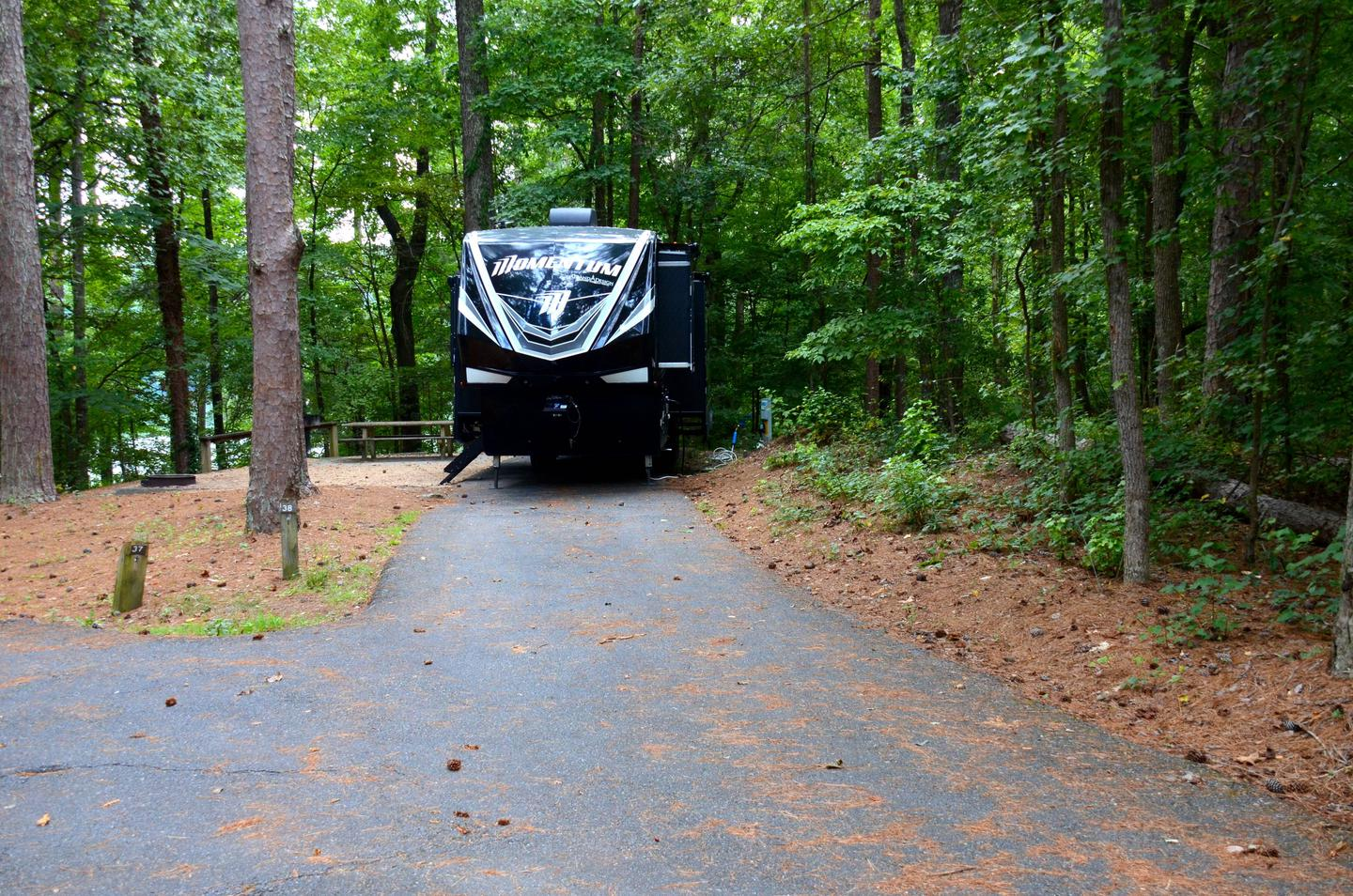 Driveway slope, awning-side clearance.Payne Campground, campsite 38.