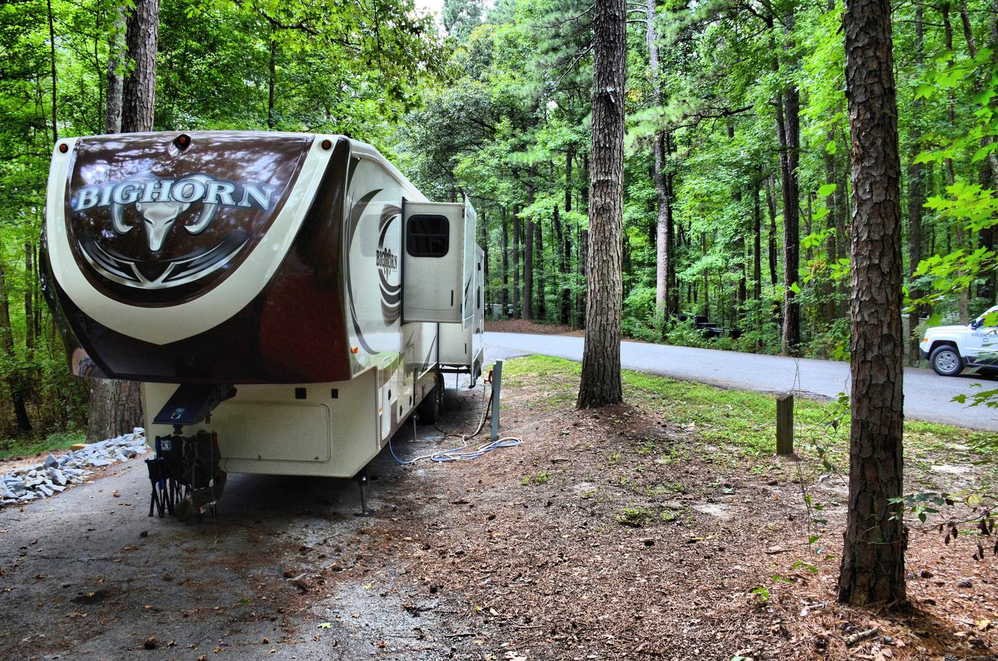 Pull-thru exit, driveway slope, utilities-side clearance.Payne Campground, campsite 39