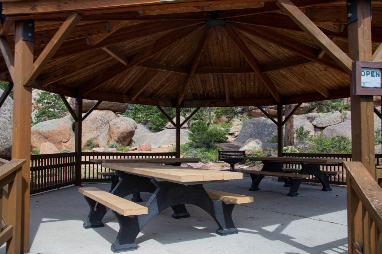 Picnic tables in Vedauwoo Gazebo
