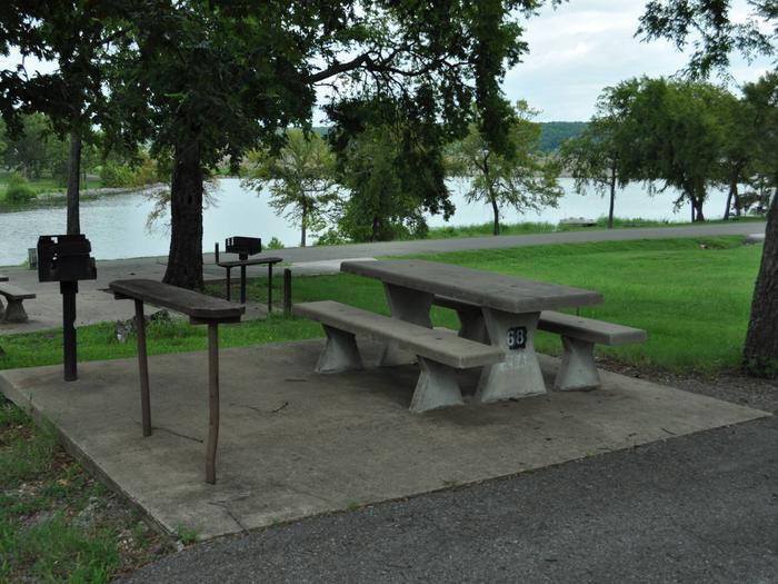 The picnic table is mostly shaded with a great view down to the water.Site 68 - Taylor Ferry