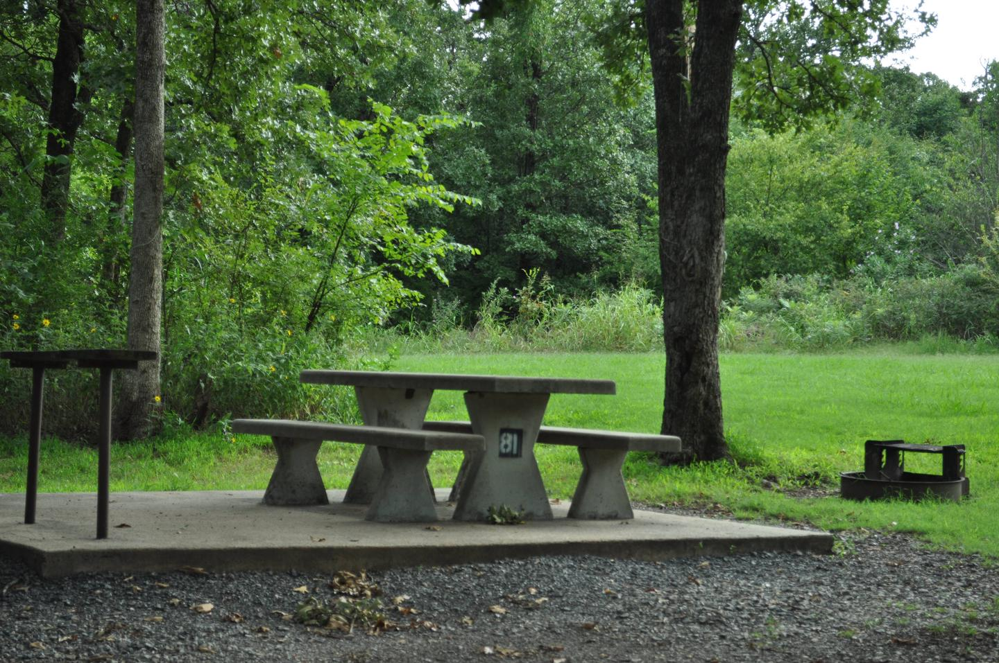Concrete picnic table, fire ring, utility table and pedestal grill are offered.  This site is a short walk to the restroom facilities.Site 81 - Taylor Ferry
