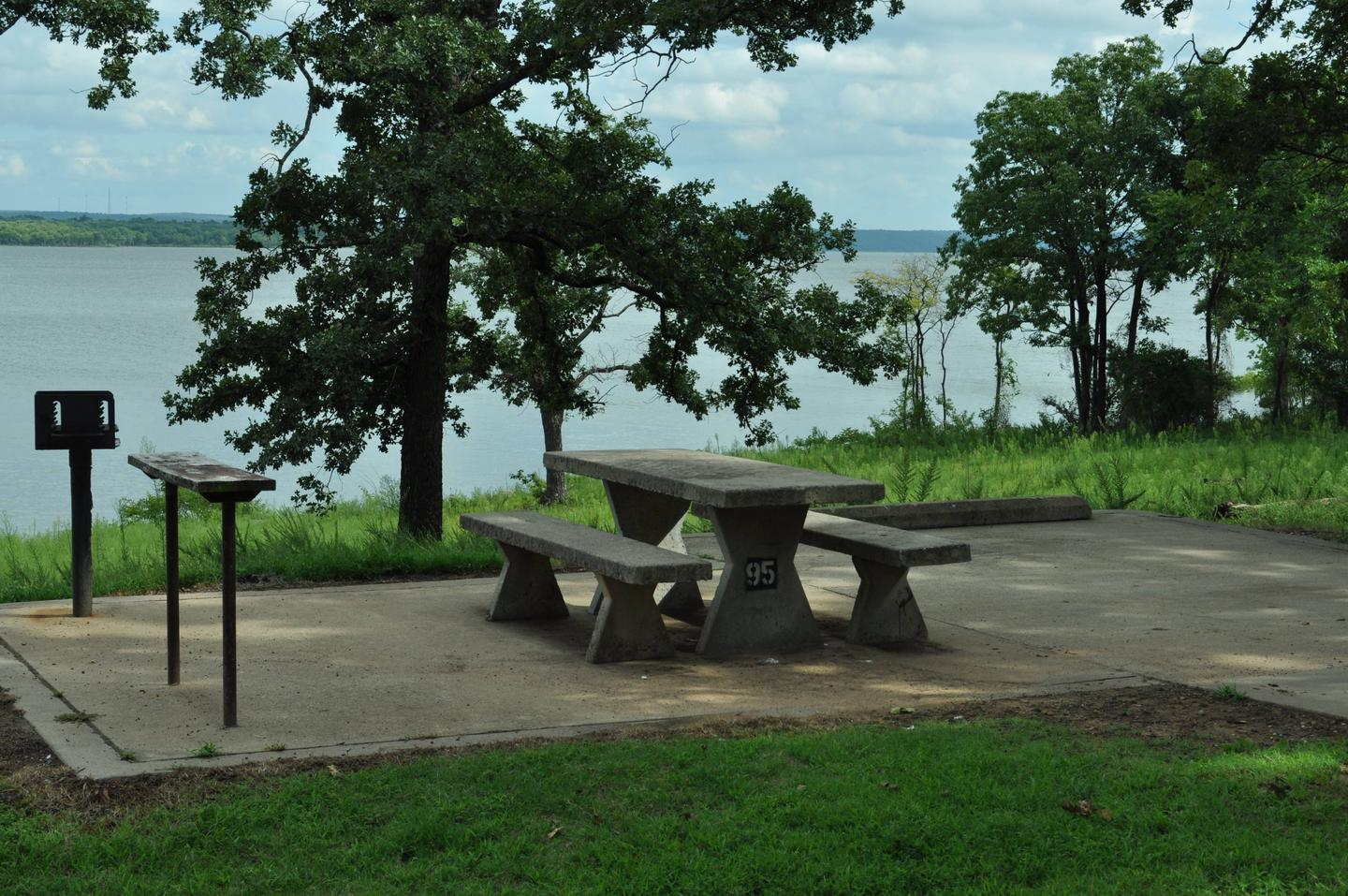 Site 95 has a concrete picnic table, pedestal grill and utility table.Site 95 - Taylor Ferry