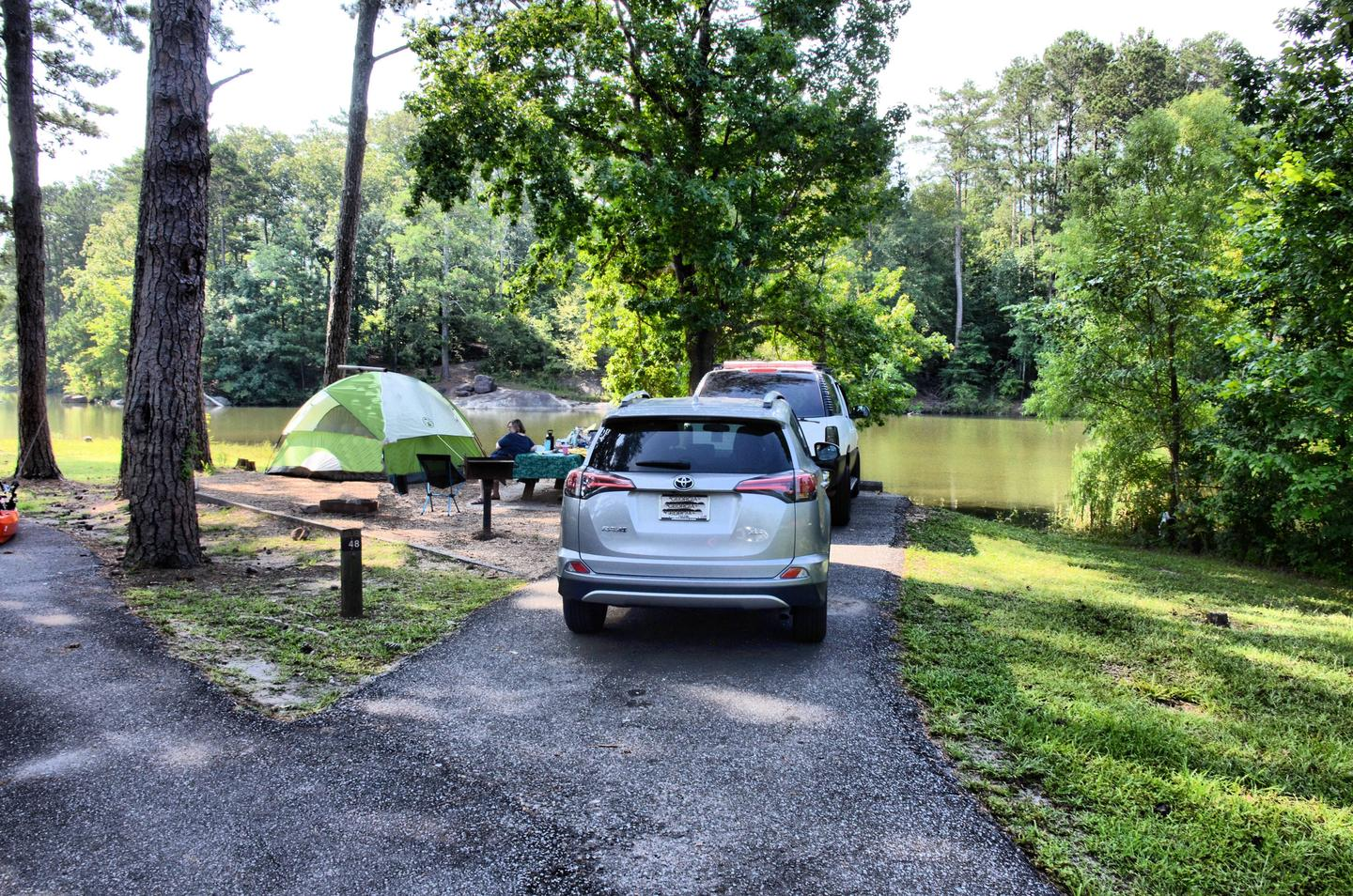Driveway slope, awning-side clearance, utilities-side clearance.Payne Campground, campsite 48.