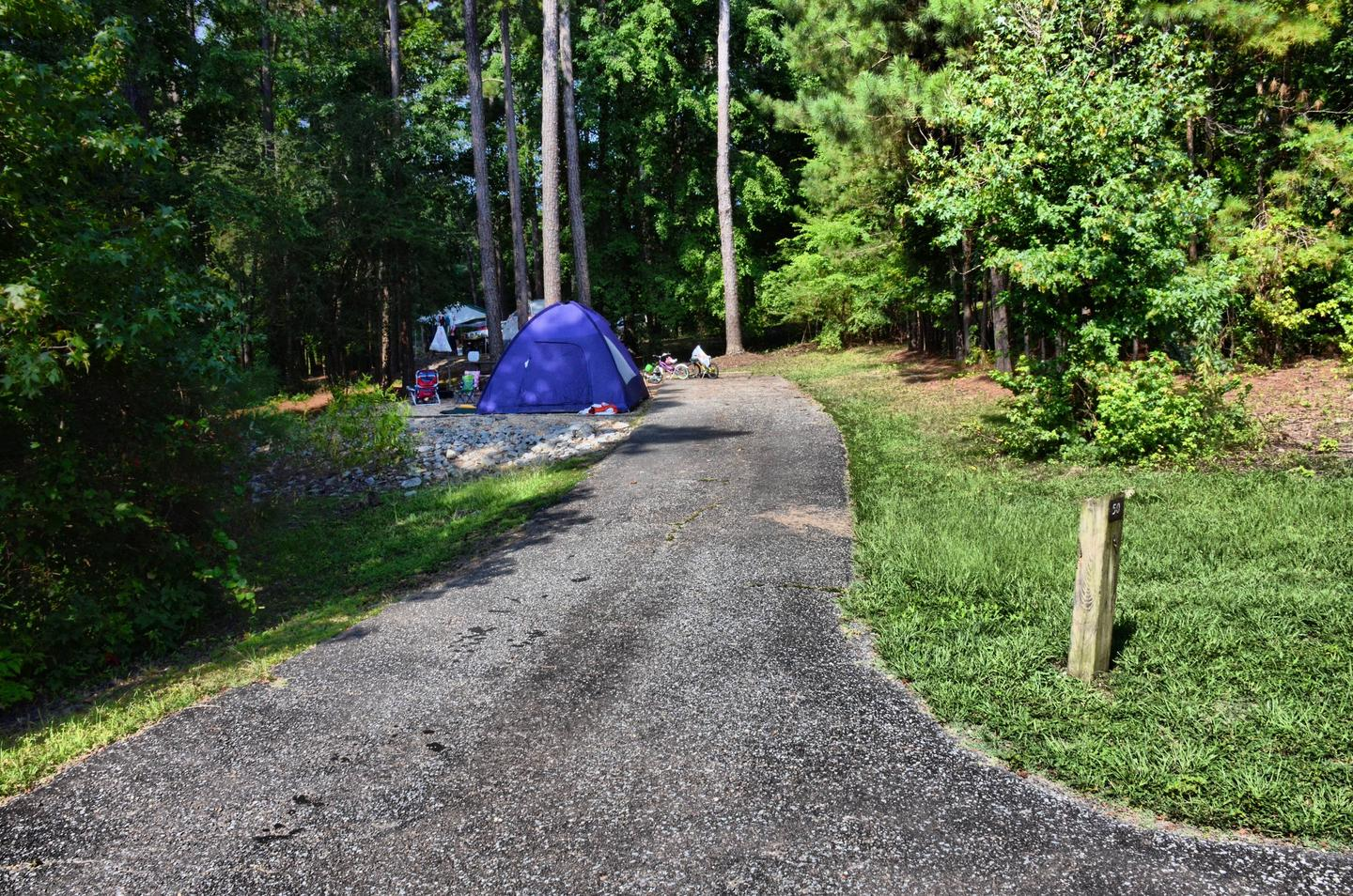Driveway slope, awning-side clearance.Payne Campground, campsite 50.