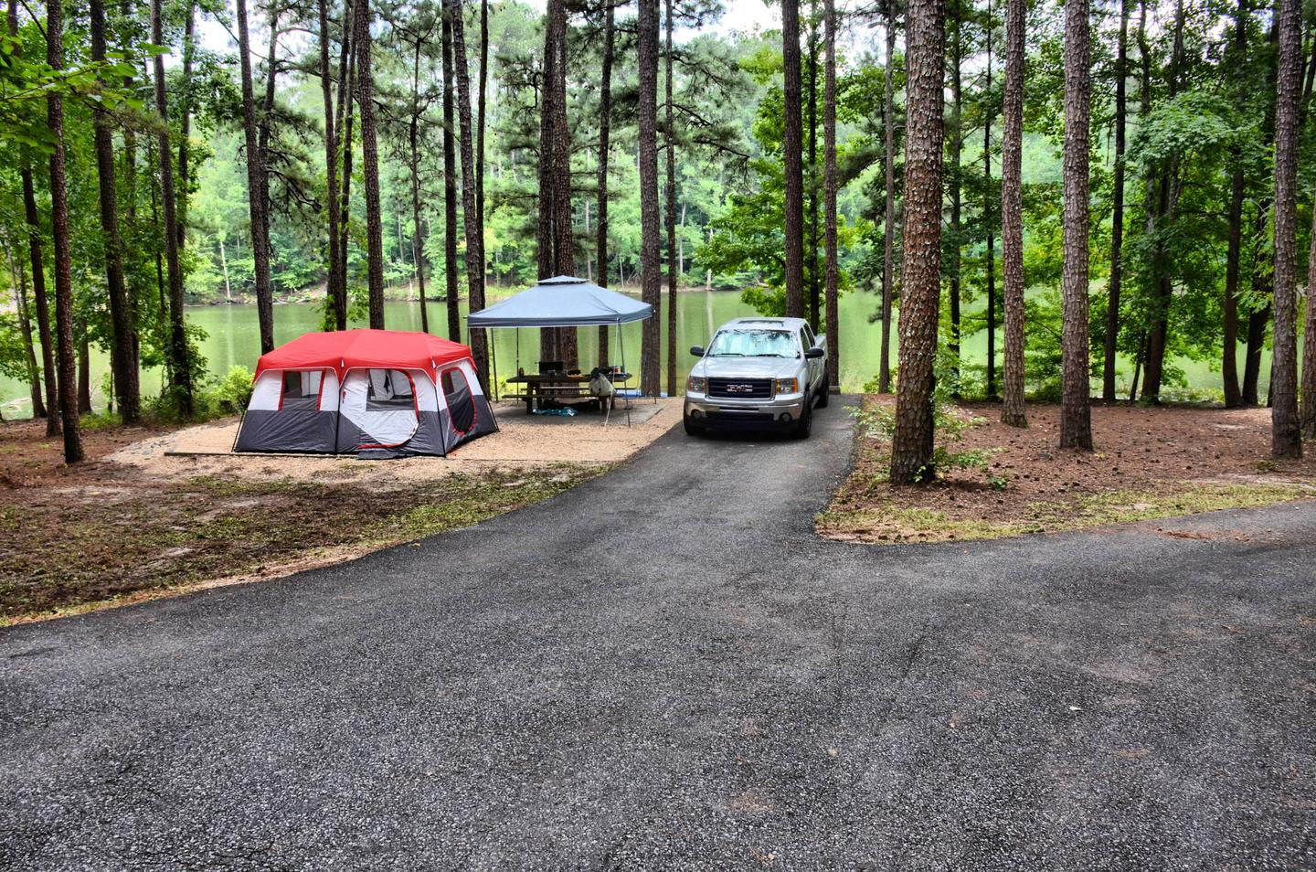 Driveway slope, awning-side clearance.Payne Campground, campsite 51.