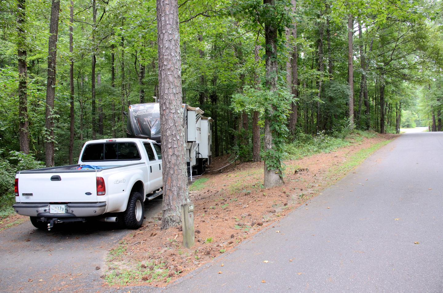 Utilities-side clearance, driveway slope.Payne Campground, campsite 55.