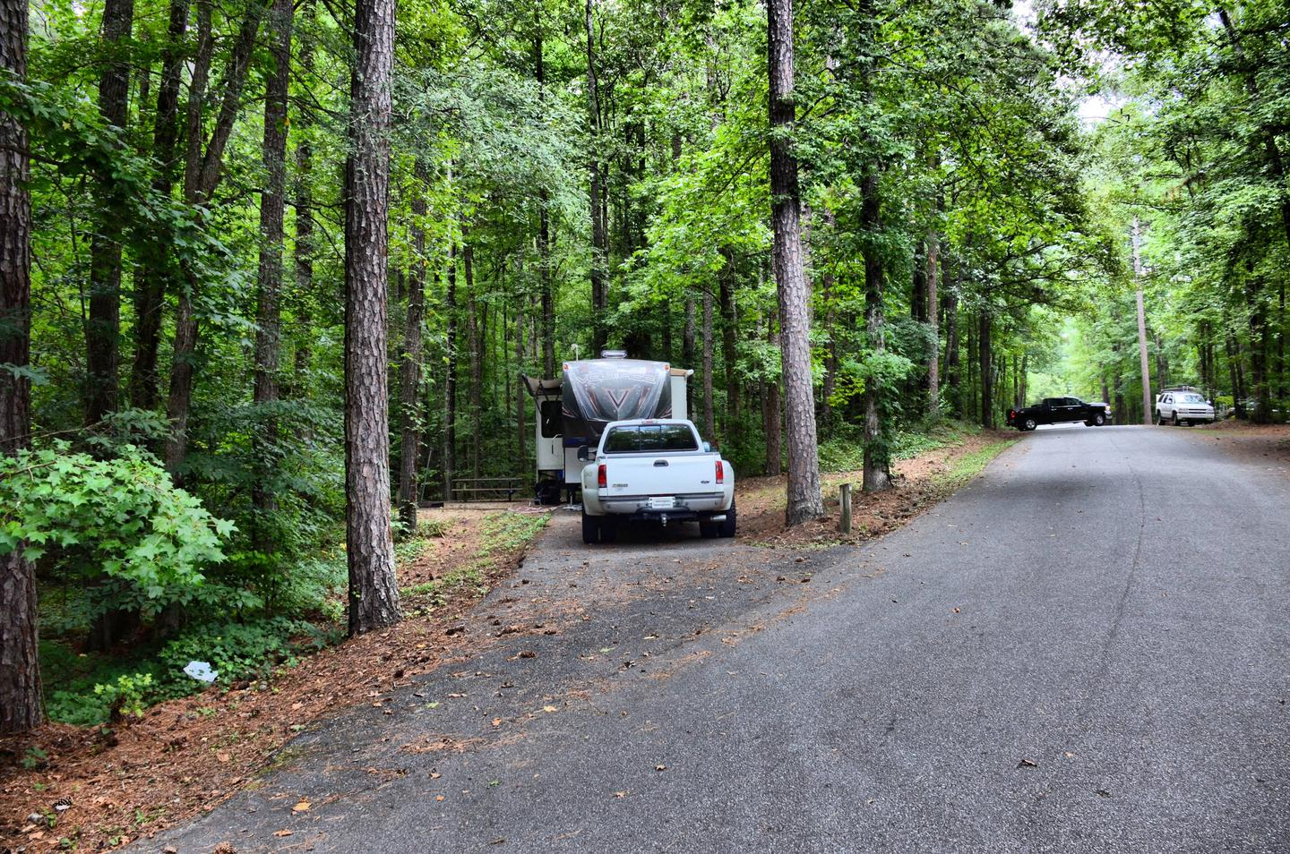 Awning-side clearance, driveway slope.Payne Campground, campsite 55.