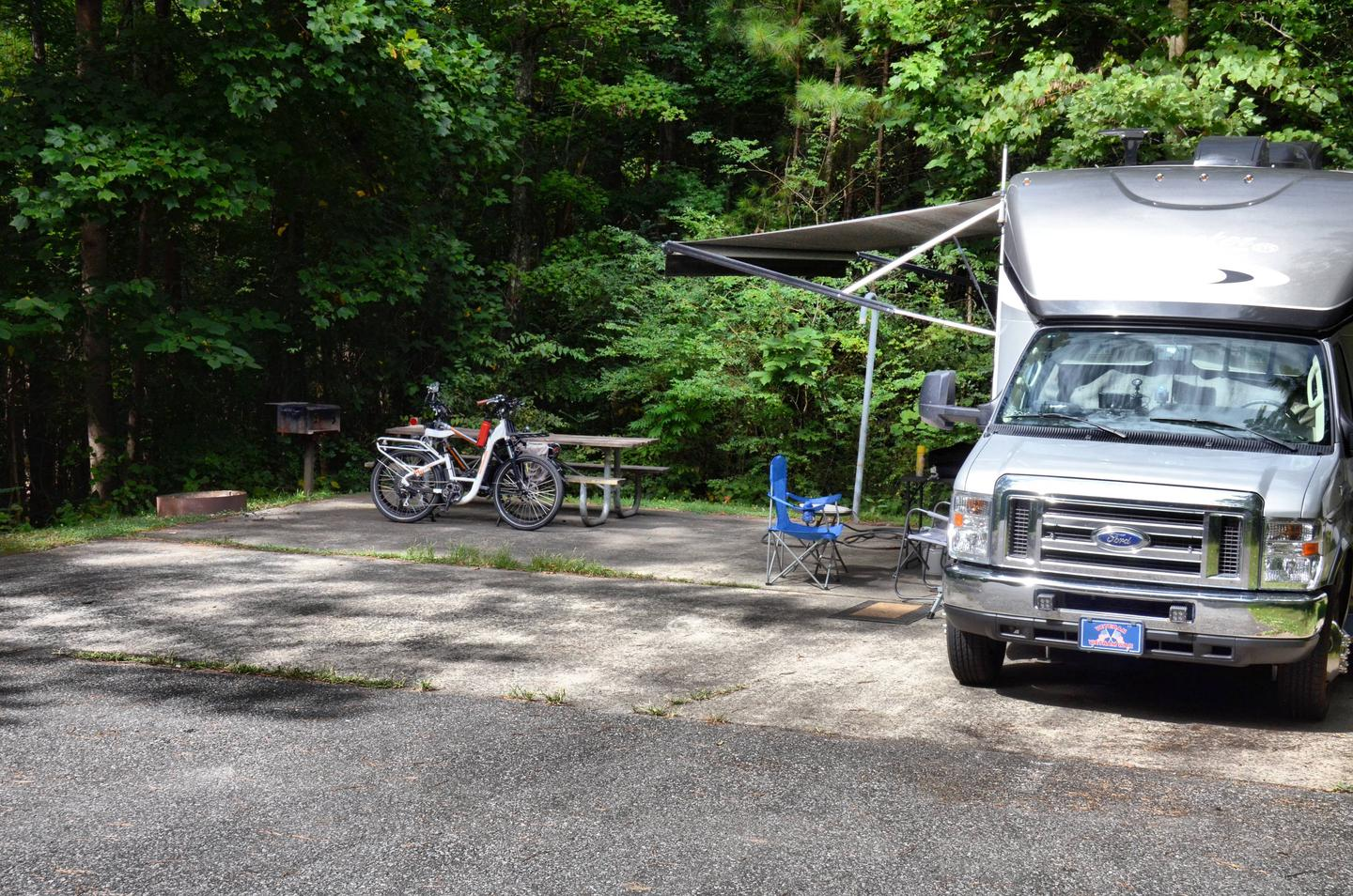 Awning-side clearance, campsite view.Payne Campground, campsite 59.