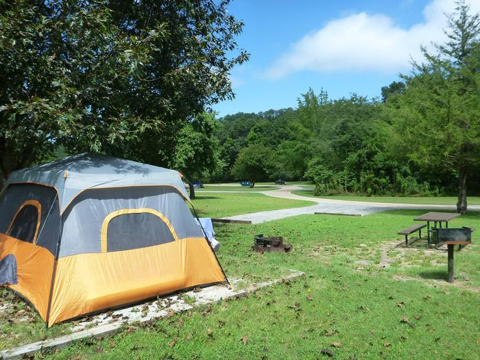 """Tyler Bend Main Loop Site# 7-4Site #7, 50"""" back-in, tent pad 15' x 15'. Parking area is wide enough for RV & car to park side by side."""