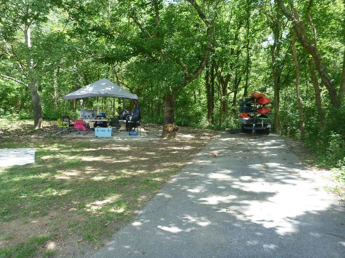 Tyler Bend Main Loop Site#9-4 Site#9, 54' back-in, tent pad 15' x'15'.