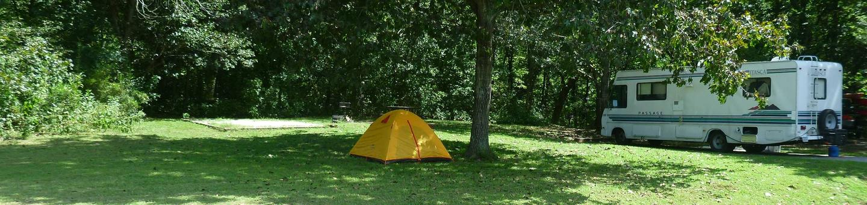 Tyler Bend Main Loop Site#10 Site#10, 43' back-in, tent pad 15' x 15'.