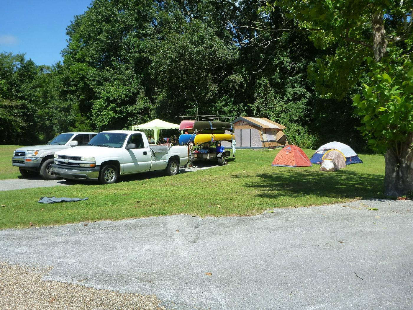 Tyler Bend Main Loop Site# 15-1Site #15, 50' back-in, tent pad is 15' x 15'.