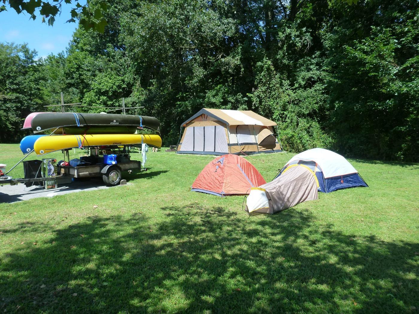 Tyler Bend Main Loop Site# 15-2Site #15, 50' back-in, tent pad is 15' x 15'.